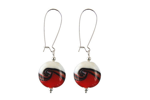Murano Foil Glass Button with Earrings (AB11 Garnet Red with White)