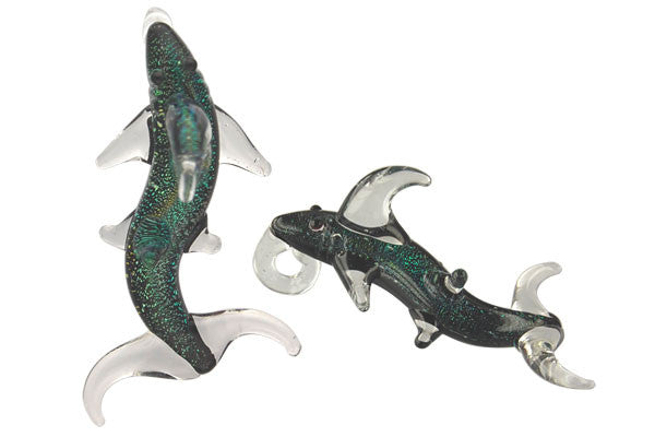 Pendant Dichroic Glass Embedded, Shark, Multicolor