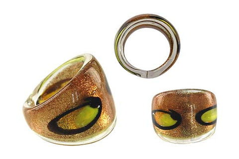 Murano Foil Glass Ring (R25)
