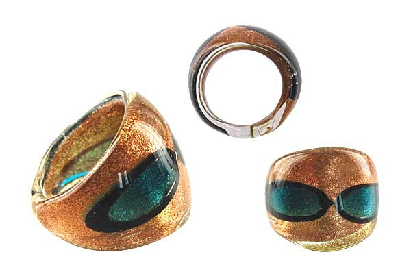 Murano Foil Glass Ring (R27)
