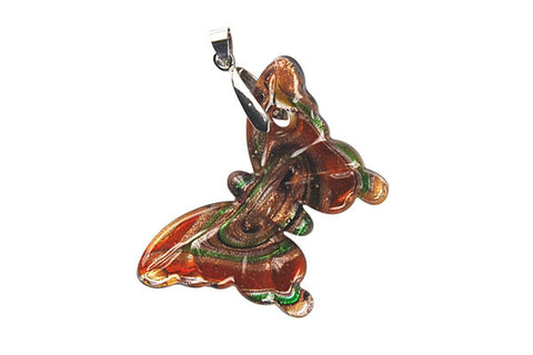 Pendant Murano Foil Glass Butterfly (YHC01 Amber)