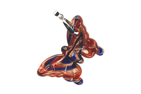 Pendant Murano Foil Glass Butterfly (YHC04 Red)
