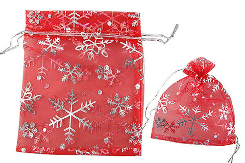 Organza Gift Pouch, Christmas Snowflake, Red, 100x120mm