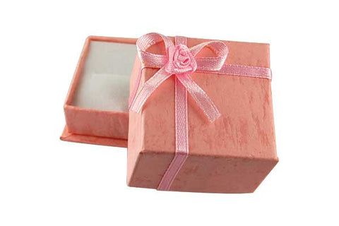 Paper Ring Box, Square with Bowtie, Pink, 40x40mm