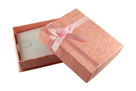 Paper Gift Box, Rectangle with Bowtie, Pink, 70x80mm