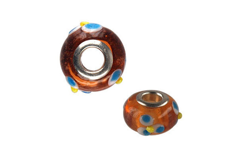 Lampwork Rondelle with Silver-Plated Core (Brown w/Blue Flowers), 10x15mm