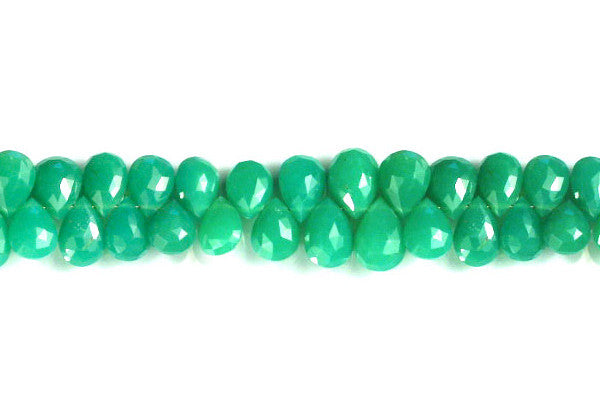 Chrysoprase Faceted Flat Briolette Beads