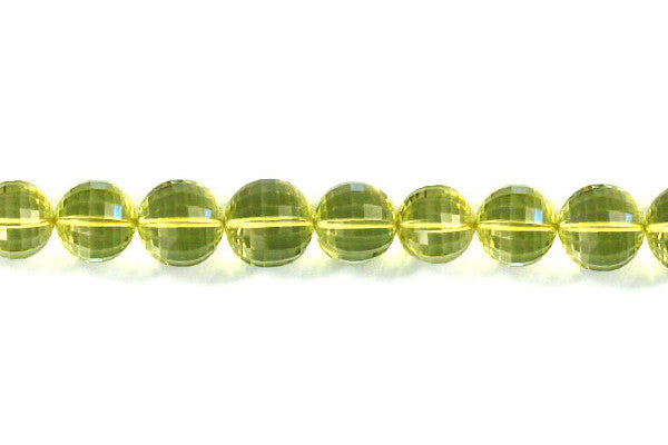 Green Gold Faceted Round Beads