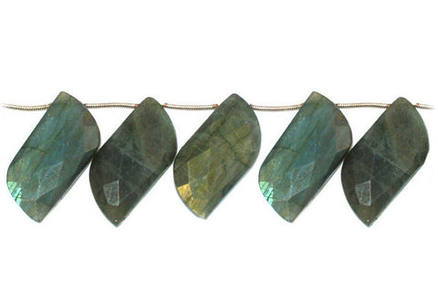 Labradorite Faceted Leaf S Shape Beads