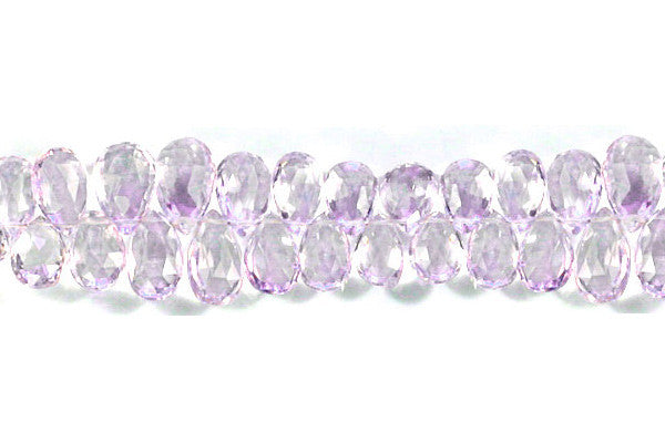 Pink Amethyst Faceted Flat Briolette Beads