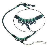 Handmade Silk Necklace, Emerald