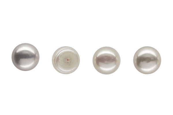 Fine Grade (FWP) Half Drilled Pearls White (Natural) Button (AAA Grade)