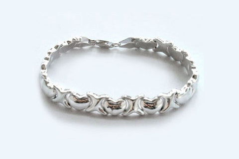 Sterling Silver Hearts & Kisses Bracelet, 7""