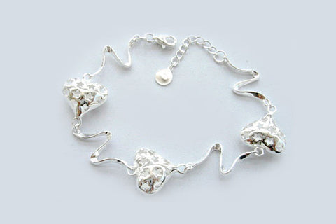 Sterling Silver Starred Hearts Bracelet, 7""