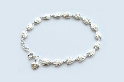 Sterling Silver Two-Tone Fish Bracelet, 7""