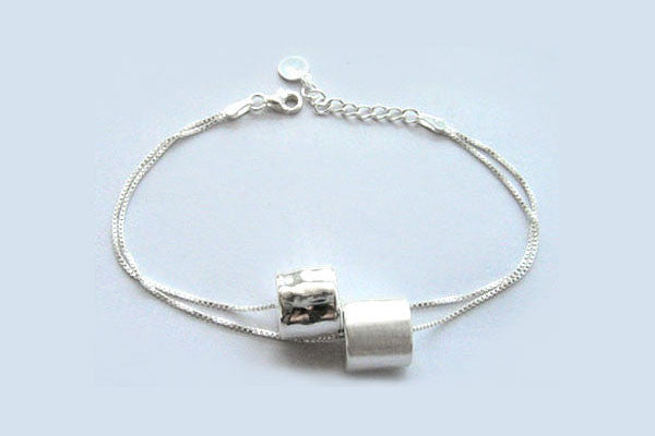 Sterling Silver Two-Tone Cylinders Bracelet, 8""