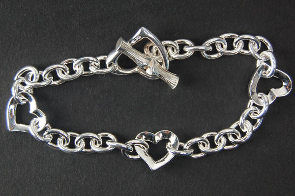 Sterling Silver Open Heart Bracelet, 7""