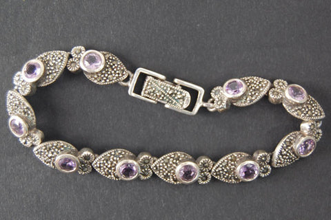 Sterling Silver Oxidized Owl with Amethyst Bracelet, 8""