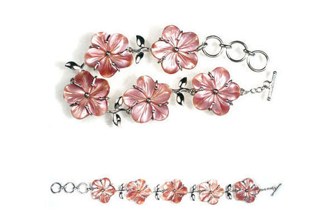 Sterling Silver Pink Mother of Pearl Bracelet, 9""