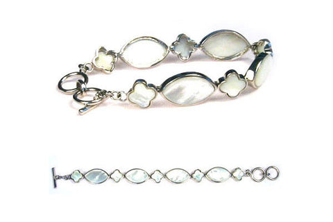 Sterling Silver White Mother of Pearl Bracelet, 8""