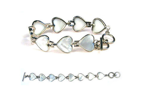 Sterling Silver White Mother of Pearl Hearts Bracelet, 8""