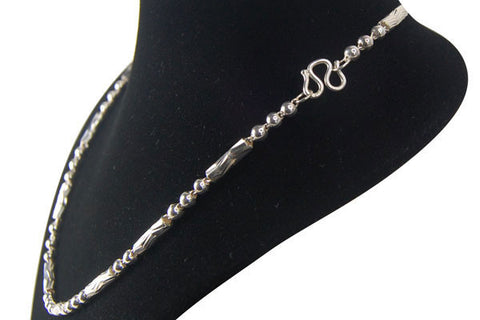 Sterling Silver Textured Tube & Ball Necklace, 18""