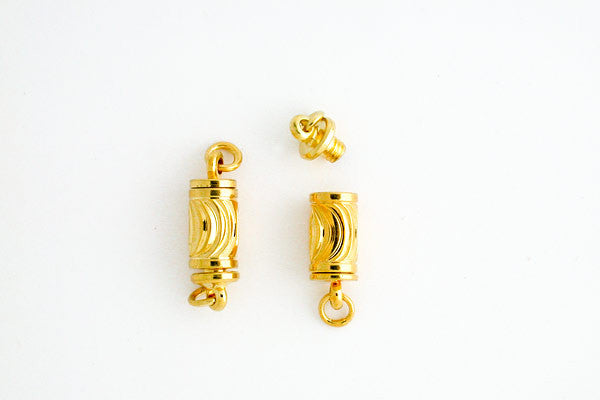 Gold-Plated Carved Tube Clasp, 5.0x15.0mm