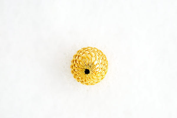 Gold-Plated Mesh Bead, 12.0mm
