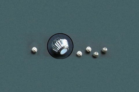 Sterling Silver Corrugated Bead, 3.0x4.0mm