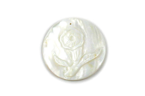 Pendant Shell (White MOP) Carved Trumpet Flower (round)