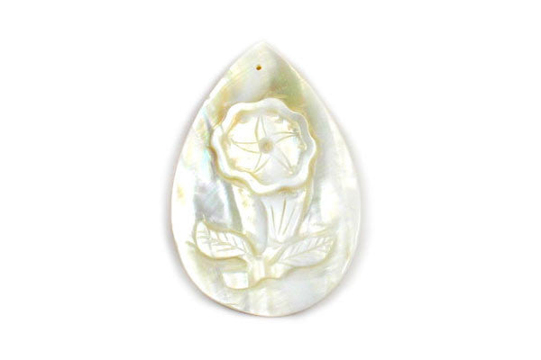 Pendant Shell (White MOP) Carved Trumpet Flower (Flat Briolette)