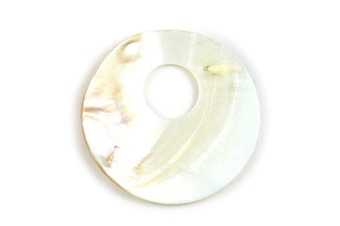 Pendant Shell (White MOP) Smooth Donut (Top Hole)