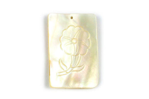 Pendant Shell (White MOP) Assorted Carvings (Rectangle)