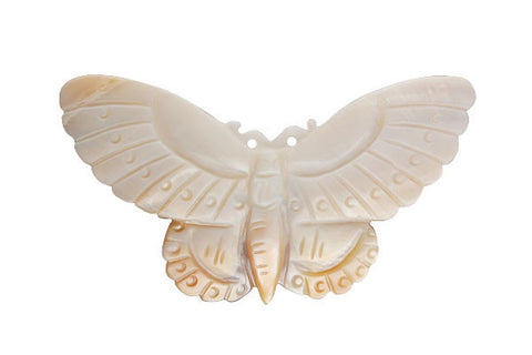Pendant Shell (White MOP) Carved Butterfly