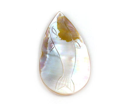 Pendant Shell (White MOP) Assorted Carved Fish (Flat Briolette)
