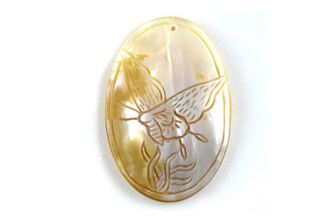 Pendant Shell (White MOP) Assorted Carved Butterfly & Eagle (Flat Oval)