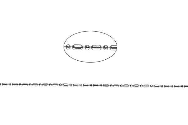 Sterling Silver Long & Short Ball Chain, 1.0mm - 1.0x2.0mm
