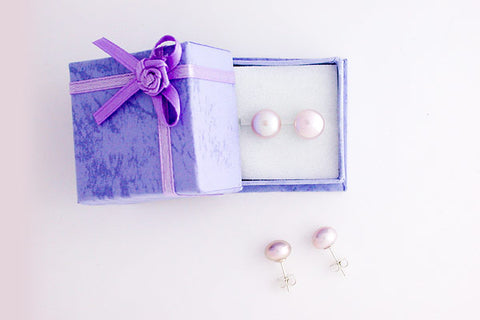 Fine Grade (FWP) Pearl (Natural) Earrings Lavender Button with Sterling Silver, 9-9.5mm