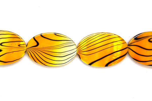 Shell (Spray-Paint MOP) Flat Oval (Yellow and white) Beads