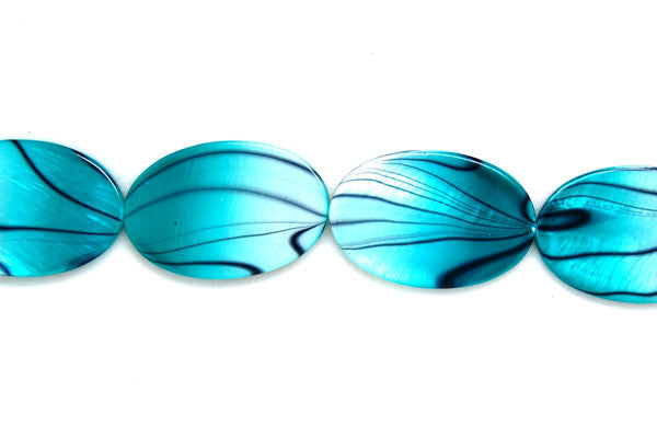 Shell (Spray-Paint MOP) Flat Oval (Aqua and White) Beads