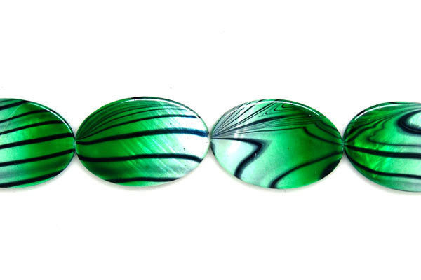 Shell (Spray-Paint MOP) Flat Oval (Green and White) Beads