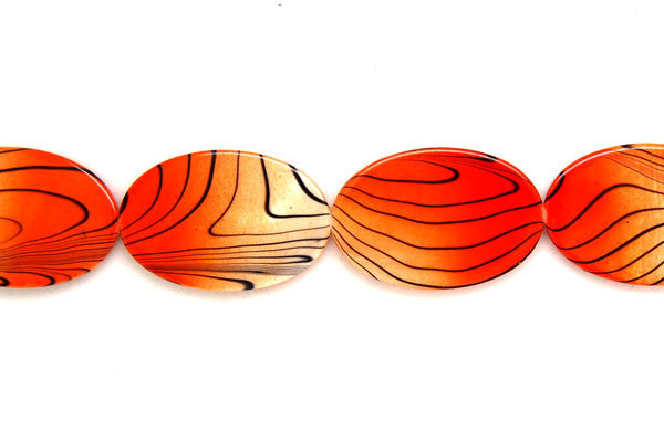 Shell (Spray-Paint MOP) Flat Oval (Orange and White) Beads
