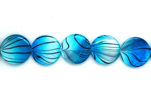 Shell (Spray-Paint MOP) Coin (Aqua and White) Beads