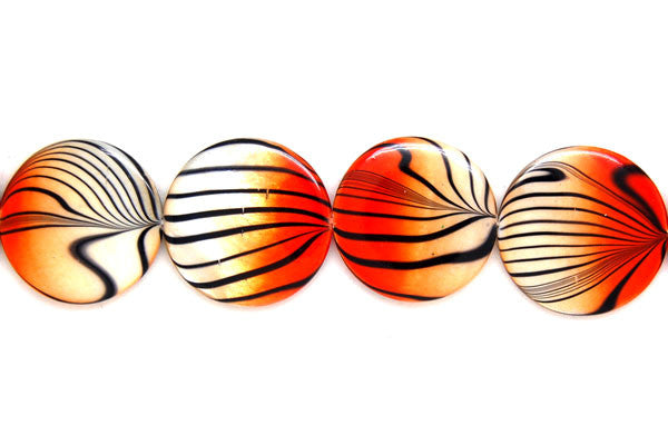 Shell (Spray-Paint MOP) Coin (Orange and White) Beads