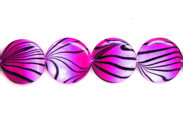 Shell (Spray-Paint MOP) Coin (Violet and White) Beads