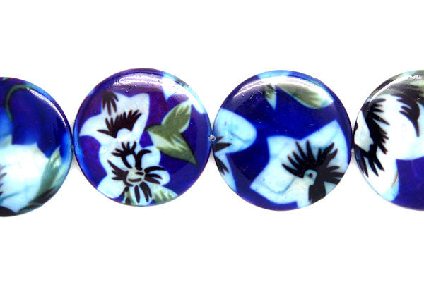 Shell (Spray-Paint MOP) Coin (Flower) Beads