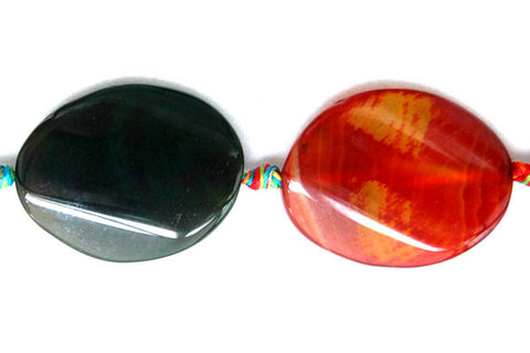Agate (Rainbow) Twist Oval Beads