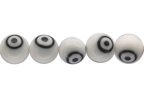 Chevron Glass Bead (white) Round Eye
