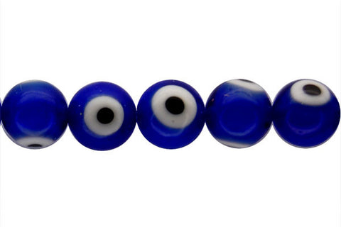 Chevron Glass Bead (Blue) Round Eye