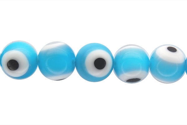 Chevron Glass Bead (Aqua) Round Eye